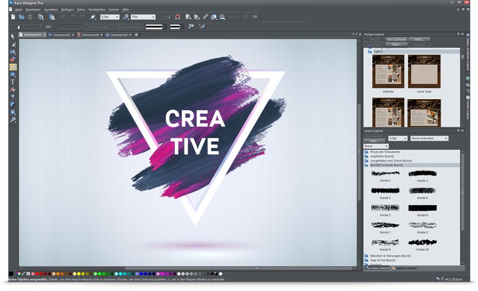 XARA Designer Pro X Screen