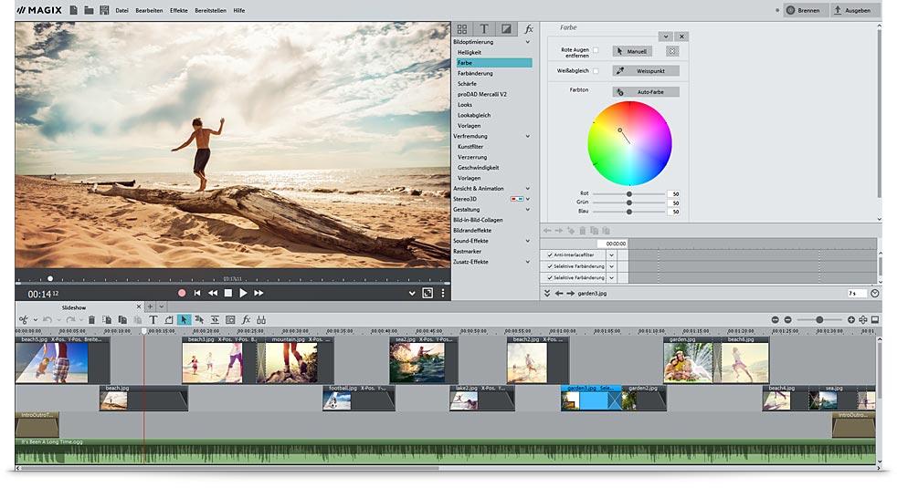 Photostory Deluxe Benutzeroberfläche um Diashows zu erstellen